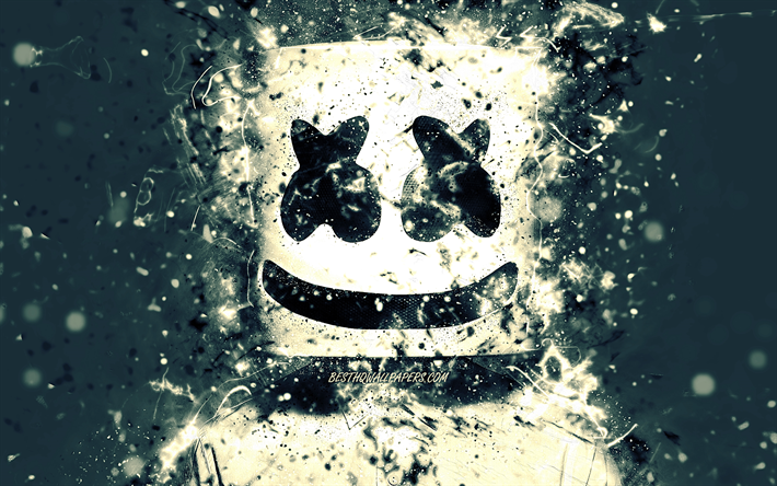 Marshmello DJ, 4k, gray background, american DJ, music stars, Christopher Comstock, Marshmello 4K, artwork, Marshmello, superstars, creative, fan art, DJ Marshmello, DJs