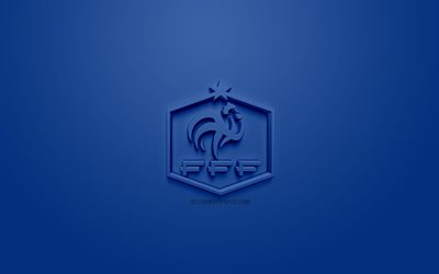 France national football team, creative 3D logo, blue background, 3d emblem, France, Europe, UEFA, 3d art, football, stylish 3d logo
