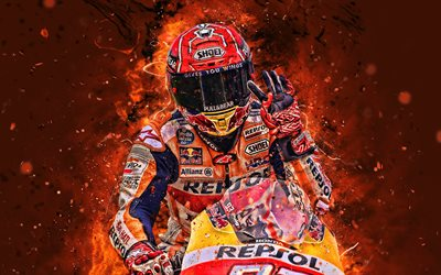 Marc Marquez, 4k, fan art, MotoGP, 2019 bikes, Honda RC213V, neon lights, Marc Marquez on track, Marc Marquez Alenta, racing bikes, Repsol Honda Team, Honda, Marc Marquez 4K