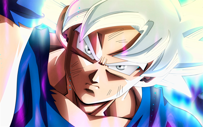 4k, Ultra Instinct Goku, portrait, angry Goku, DBS characters, close-up, Dragon Ball Super, angry goku, Super Saiyan God, Dragon Ball, Mastered Ultra Instinct, Migatte No Gokui