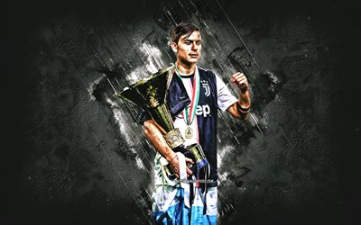 Paulo Dybala, Juventus FC, Argentinian footballer, striker, Dybala with golden cup, Juventus 2020 uniform, Serie A, Italy, football