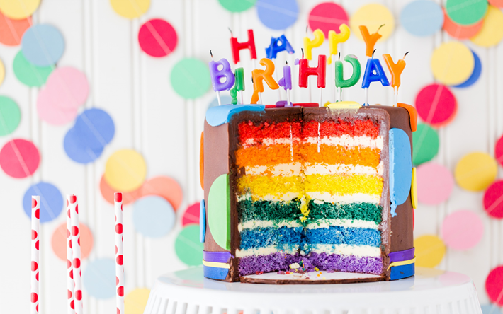 Download Wallpapers Happy Birthday Festive Cake Colorful