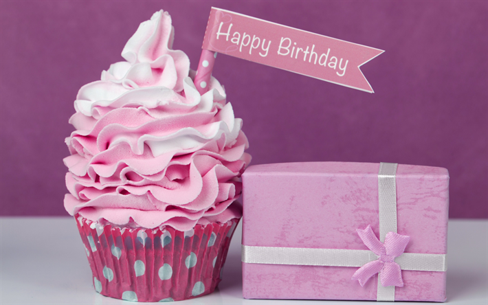 Download Wallpapers Happy Birthday Cupcake Festive