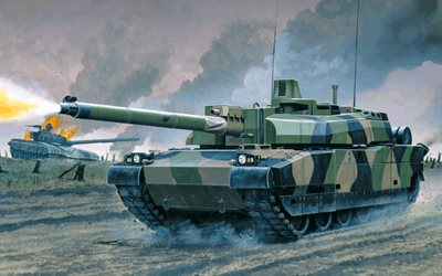 AMX Leclerc, French tank, modern armored vehicles, painted tank