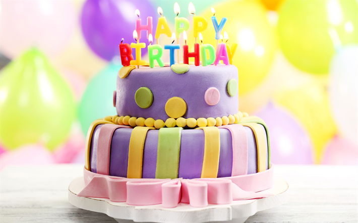 Download Wallpapers Happy Birthday Cake With Candles