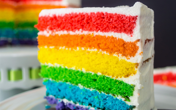 Download Wallpapers Birthday Cake Colorful Cake Rainbow