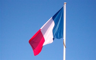 French Flag on a flagpole, Flag of France, blue sky, national symbols, France, French Flag