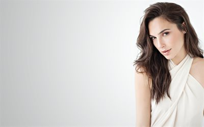 Gal Gadot, israeli actress, portrait, photoshoot, white dress, beautiful woman, israeli fashion model