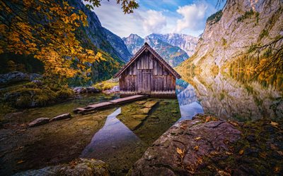 Obersee, 4k, autumn, Berchtesgaden National Park, Konigssee, mountains, beautiful nature, Berchtesgadener Land, Germany, Europe