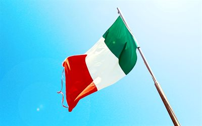 Flag of Italy on a flagpole, blue sky, Italian flag, national symbol, Italy, Flag of Italy