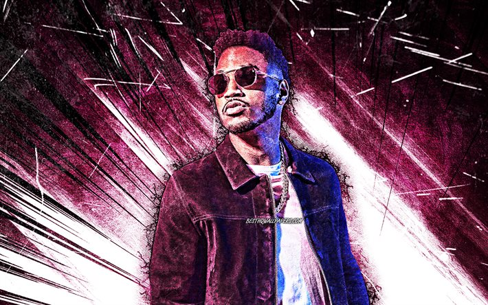 Download Wallpapers 4k Trey Songz Grunge Art American Singer Music Stars Creative Tremaine Aldon Neverson Purple Abstract Rays American Celebrity Superstars Trey Songz 4k For Desktop Free Pictures For Desktop Free