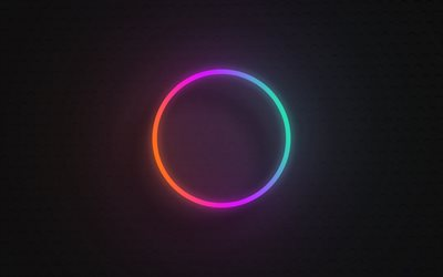 multicolored circle on black background, neon circle, gradient light circle, creative circles background