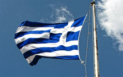 Greece flag, flag of Greece on flagpole, blue sky, flagpole, national symbols, Greece, flag of Greece
