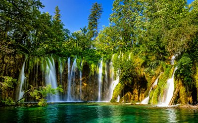 Plitvice Lakes National Park, 4k, waterfalls, forest, beautiful nature, pathway, HDR, Croatian landmarks, Croatian nature, Europe, Croatia