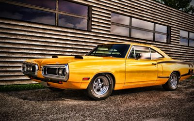 Dodge Coronet Super Bee HDR, retro carros, 1970 carros, muscle cars, tuning, 1970 Dodge Coronet, os carros americanos, Dodge