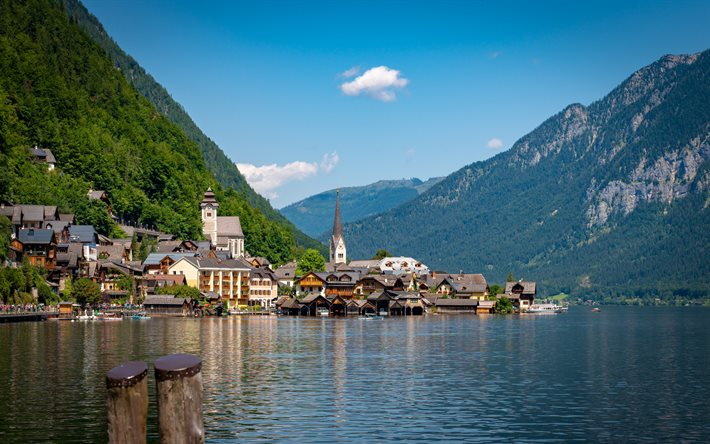 Hallstatt Lake, Alps, summer, mountain landscape, Hallstatt, lake, mountains, chapel, landmark, Austria