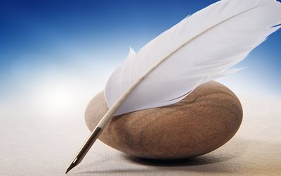 pen, feather pen, stone, other, widescreen