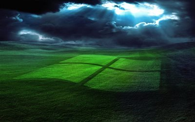 windows, logo, emblem windows, green field