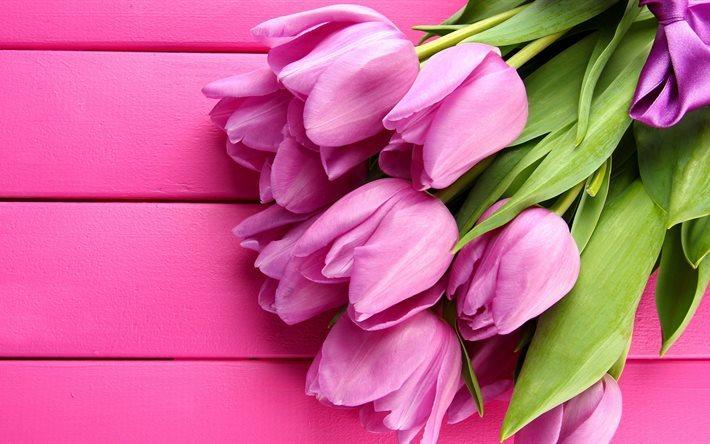 Scarica Sfondi Primavera Consiglio Bouquet Tulipani Rosa Fiori
