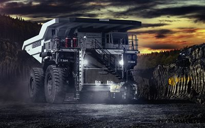mining truck, quarry, night, big truck