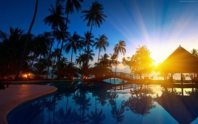 hotel, pool, thailand, sunset, phuket