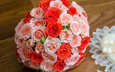 wedding bouquet, red roses, pink roses, bouquet of roses