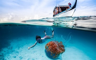boat, girl diver, medusa, sea, underwater world, diving