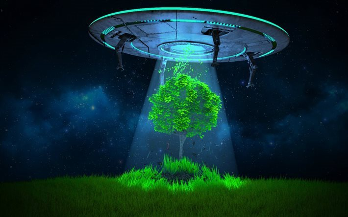aliens, tree, ufo, night, starry sky