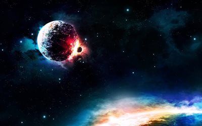 clash of planets, apocalypse, galaxy, explosion, planet