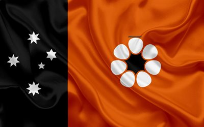 Flag of the Northern Territory, Flag of Victoria, 4k, silk texture, national flag, Australian State, national symbol, orange black flag, Northern Territory, flag, Australia