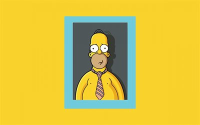 4k, Homer Simpson, minimal, The Simpsons, creative, photo frame