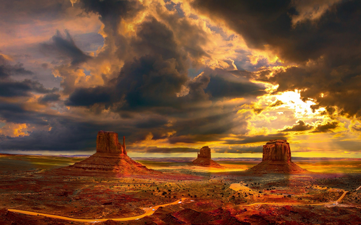 Download Wallpapers Monument Valley Usa Sunser Desert