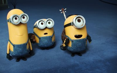Bob, Stewart, Kevin, Minions, funny characters, Despicable Me