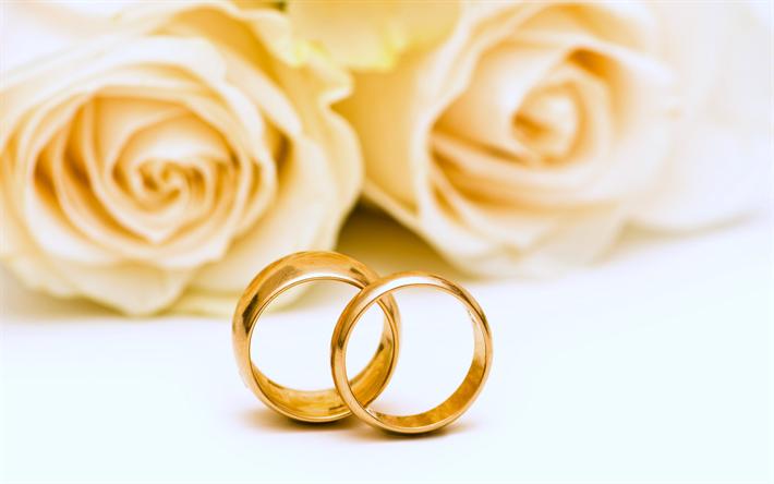 Herunterladen Hintergrundbild Hochzeit Gold Ringe Weisse Rosen
