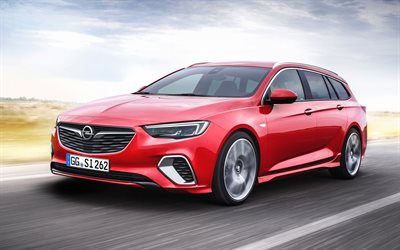 Opel Insignia, 2017, GSi Sports Tourer, wagon, red Insignia, german cars, new cars, Opel