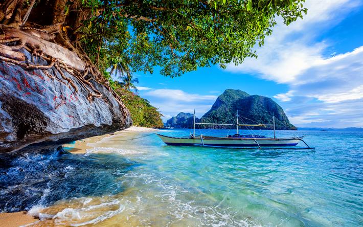 Scarica Sfondi Filippine Mare Rocce Barca I Tropici Estate Per