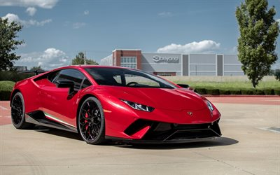Lamborghini Huracan, Performante, 2018, red supercar, black wheels, tuning Huracan, new red Huracan, Italian sports cars, Lamborghini