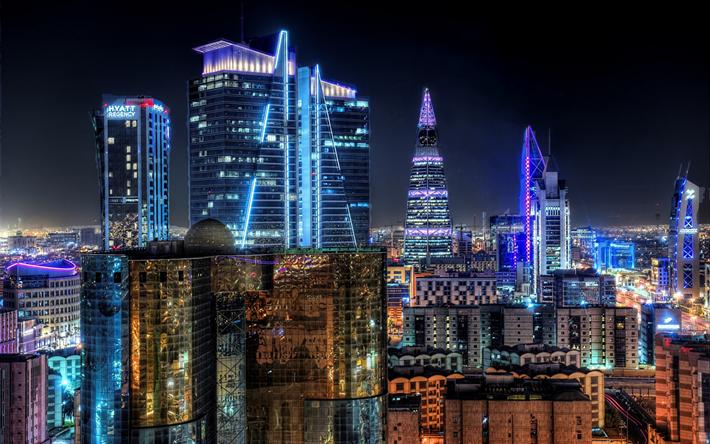 Download wallpapers Riyadh, capital, colorful city lights