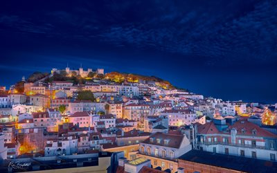 Lisbon, Saint George Castle, evening, sunset, cityscape, Lisbon panorama, historic castle, Portugal