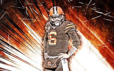 4k, Baker Mayfield, grunge de l'art, de la NFL, Cleveland Browns, le football américain, le quart-arrière, Baker Reagan Mayfield, Baker Mayfield Browns de Cleveland, orange résumé rayons, Baker Mayfield 4K