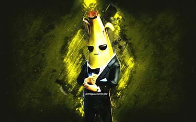 Fortnite Mister Banane Skin, Fortnite, main characters, yellow stone background, Mister Banane, Fortnite skins, Mister Banane Skin, Mister Banane Fortnite, Fortnite characters