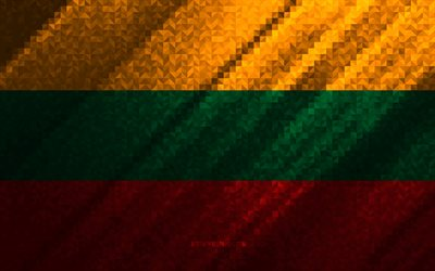 Flag of Lithuania, multicolored abstraction, Lithuania mosaic flag, Europe, Lithuania, mosaic art, Lithuania flag