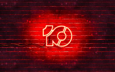 Windows 10 red logo, 4k, red brickwall, creative, Windows 10 logo, operating Systems, Windows 10 neon logo, Windows 10
