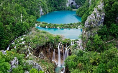 Plitvice lakes, Croatia, mountain lakes, forest, waterfalls, lakes, Croatian landmark
