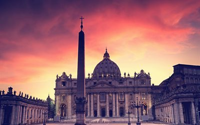 Vatican, Saint Pauls Cathedral, sunset, evening, Catholic Cathedral, St Peters Square