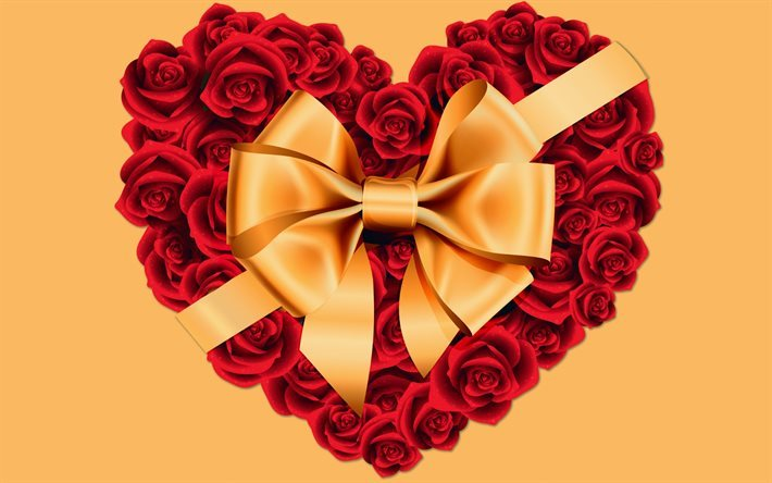 heart of roses, red heart, flower heart, gold ribbon, gold bow, roses