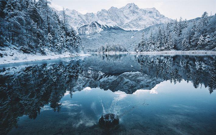scarica sfondi inverno montagna lago neve foresta