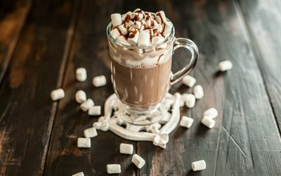 Chocolate smoothies, marshmallows, sweet chocolate drinks, smoothies