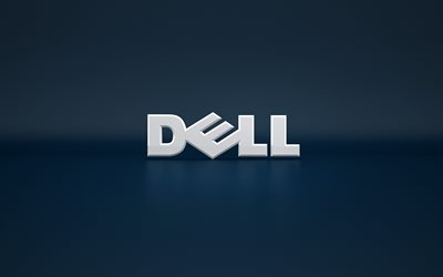 Dell, 4k, 3d logo, blue backgroud, Dell logo