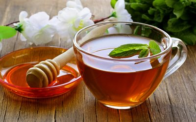 tea with mint, honey, cup of tea, hot drink